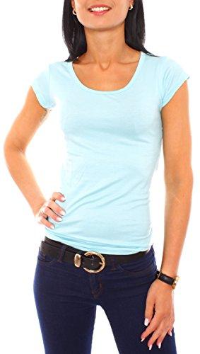 Easy Young Fashion Damen Basic Viscose Jersey Stretch Kurzarm T-Shirt Top Rundhals Ausschnitt Eng Anliegend Slim Fit Uni Einfarbig Aqua L - 40 (Damen Stretch-jersey-t-shirt)