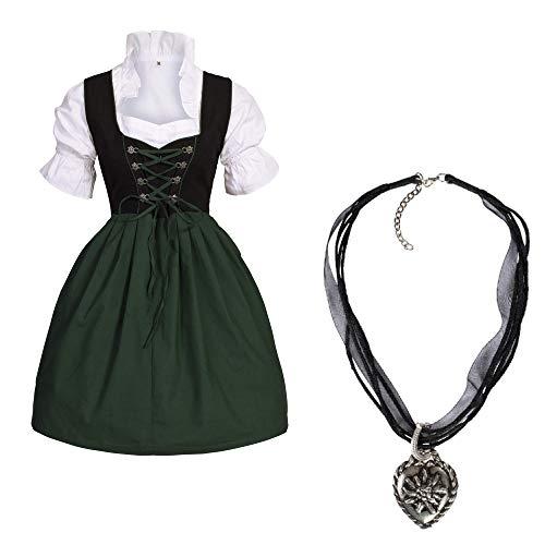 Gaudi-Leathers Bavarese Dirndl set nero verde 4 pezzi costume tipico tirolese per Oktoberfest con catena Carnevale Donna 38