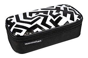 Eberhard Faber 577548 Jumbo - Estuche con 12 Compartimentos para bolígrafos y escuadra, Color Blanco y Negro