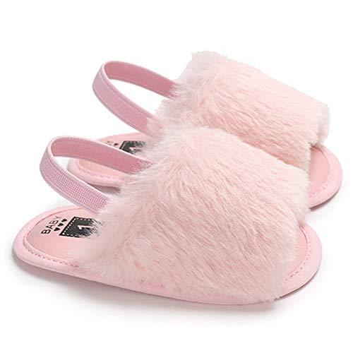 Alivier Baby Mädchen Sandalen Kunstpelz Slip-On Wohnungen Kleinkind Sommer Elastische Rückengurt Wohnungen Schuhe Kinder Slip-on Schuhe