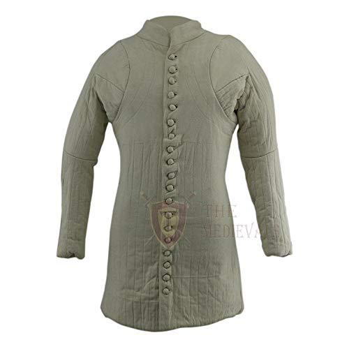 The Medieval Shop Mittelalterlicher Gambeson Dicker gepolsterter Langer Mantel Aketon Jacke Armor Kostüm - weiße Baumwollstoffe, weiß, X-Large