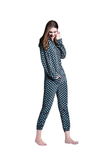 Damen Fleece Einteiler Nachtwäsche Onesie Pajama Strampelanzug Schlafanzüge Overall Warm mit Kapuze Airee Fairee Fleckig blau