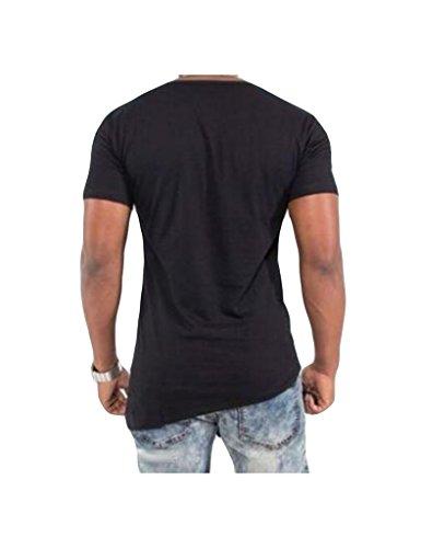 Legou Herren kurzarm Tee T-shirt Asymmetrische Shirt Schwarz