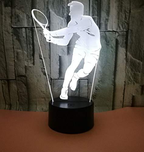 Nachtlicht 3D Visual Tennis Modell Nachtlicht Neuheit Geschenke 7 Farbwechsel 3D Schreibtisch Tisch Touch Base USB Lampe Kinder Geschenk (Boot-tisch Base)