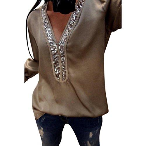 Manga Larga de Lentejuelas Sexy Mujeres de Moda Blusas con Cuello en V Blusa Casual Camiseta ❤️ Manadlian