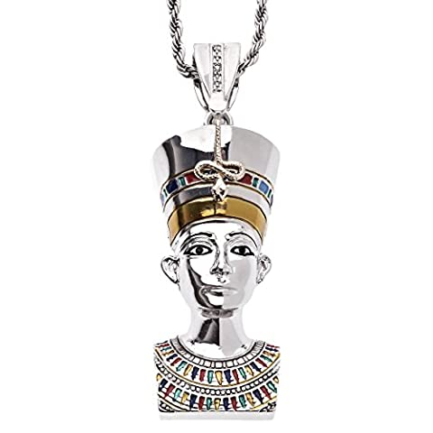 Iced Out Bling Hip Hop Penditif - PHARAON argent