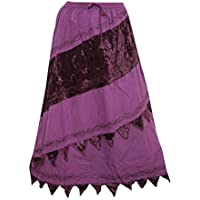 Mogul Interior Womens Skirt Bohemian Embroidered Stylish Rayon Gypsy Purple M
