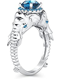 Silvernshine Halo Round Cut Simulated Aqamarine CZ Diamond 18K White Gold Plated Elephant Ring