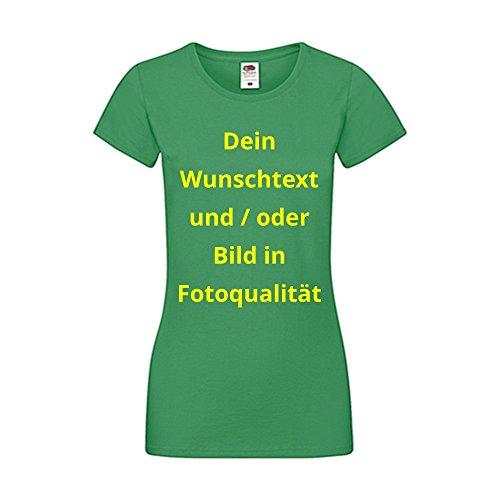 Damen T-Shirt Bedrucken - Text und Bild individuell auf Ihr T-Shirt Drucken Lassen | Personalisiert Farbe Grün, Größe L