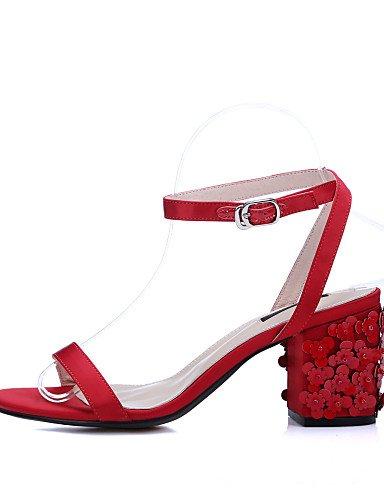 UWSZZ Die Sandalen elegante Comfort schuhe Donna-Sandali - Büro und Arbeit/formelle/Casual-Tacchi/mit Gürtel/Aperta-Quadrato - Haut Raso-Blu//Rot/Weiß White