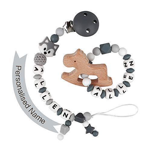 Schnullerkette mit Namen Junge Schnuller Clip Personalisierte Silikon Perlen Beißring Zahnen BPA Frei für Babys Fuchs(Grau mit Beißring)