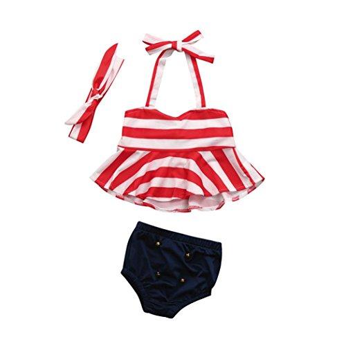 e 3PCS Set Neugeborene Baby Jungen Mädchen Niedlich Baby Gestreift Kleider Set Sommer Rüsche Playsuit Kurzarm Tops + Hose + Stirnband Outfits (90, Rot) (Niedliche Neugeborenen)