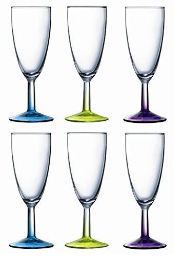 Boite de 6 Flutes 14,5cl Couleur Assortis Crazy Colors Lumin Arc