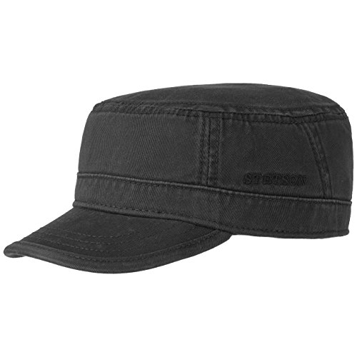 Stetson Gospar Army Cap (Kubacap), aus 100% Baumwolle gefertigte Urbancap für Damen und Herren, eine coole Armeekappe mit Schirm in der Größe XXL/62-63, Farbe schwarz