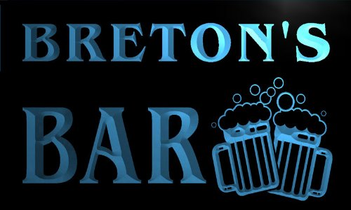 w008249-b BRETON'S Nom Accueil Bar Pub Beer Mugs Cheers Neon Sign Biere Enseigne Lumineuse