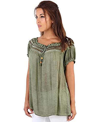6888-KHA-ML: Gypsy Boho Loose Lightweight Off Shoulder Top Blouse Summer Tunic Shirt