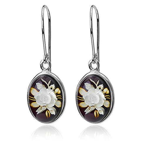 Amber Sterling Silver Cameo Oval Hook Earrings