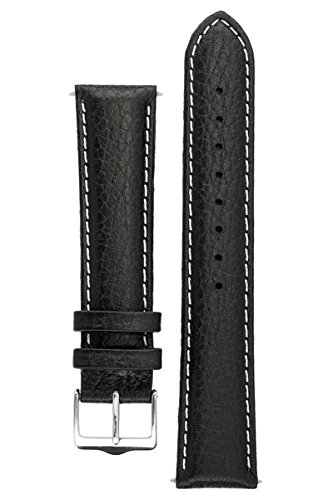 Signature Buffalo Uhrenarmband. Ersatzarmband. Echtleder. Edelstahl-Dornschließe (Schwarz mit Weiß, 20 mm) (Neue Buffalo Leder)