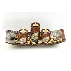 Idea Regalo - Tre candelieri decorationschale fatti di legno