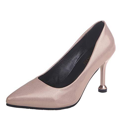 feiXIANG Damen High Heels Stiletto Sandaletten mit Pfennigabsatz Pumps Solid Bequeme Work Schuhe(Gold,39) (Gold Keil Pumpe)
