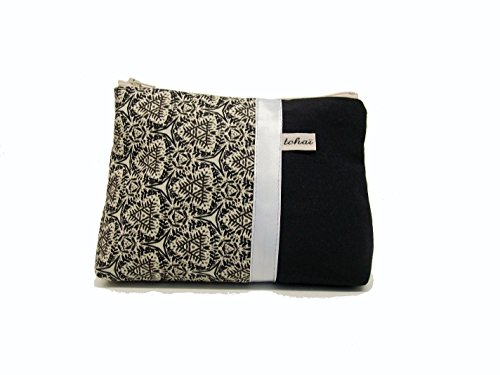 trousse fourre tout noir et beige a motifs ethniques , pochette maquillage en toile et coton imprimé graphique , cadeau femme