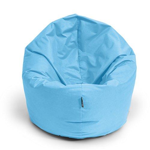 BuBiBag Sitzsack 2-in-1 Funktionen mit Füllung Sitzkissen Bodenkissen Kissen Sessel BeanBag (100cm Durchmesser, hellblau)