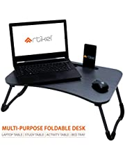 Artikel Multi-Purpose Laptop Table with Dock Stand | Study Table | Bed Table | Foldable and Portable | Ergonomic & Rounded Edges | Non-Slip Legs | Engineered Wood | Ergo Series | Ebony Wood