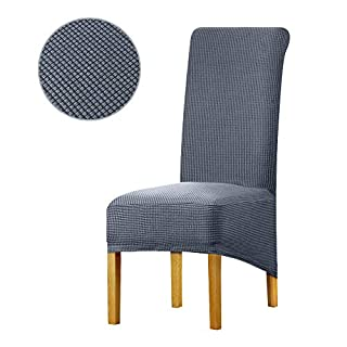 Leorate Large Size Dining Room Hotel Fleece Fabric Stretch Chair Cover Grey Blue Pack of 6