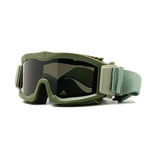 Military Alpha Ballistic Schutzbrille Tactical Armee Sonnenbrille Softair CS Paintball Gläser 3 Lens Kit, Herren (Armeegrün)