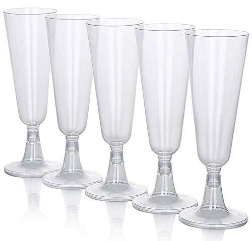 (Sektgläser Plastik 20 Stück Einweg Champagnergläser 0,1l | Glasklar - Stabil | Sektglas - Sektkelche)