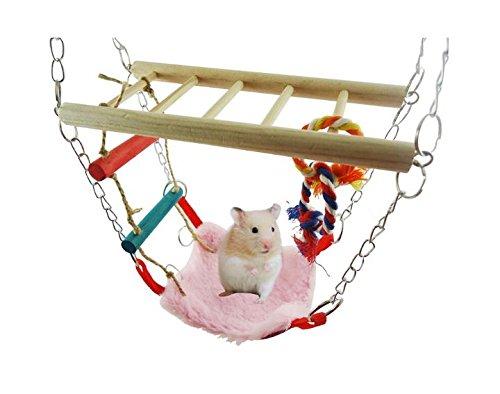 Perchoir Balançoire Hamac Escalier Echelle Jouet pour Oiseaux Perroquets Perruches Hamster etc Couleur Aléatoire