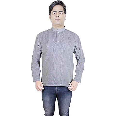 Indio camisa de la raya del algodón - manga larga para hombre de la ropa de yoga -tunic corta kurta -tamaño