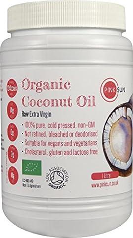 PINK SUN Huile de Noix de Coco Vierge Bio 1 litre Biologique Huile de Coco Pressée à Froid - Raw Organic Extra Virgin Coconut Oil 1000ml - Cold Pressed Pure Unrefined