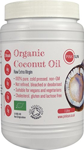 Bio Kokosöl Kaltgepresst 1000ml (1 litre) Extra Vergine Reines Rohes Unraffiniert Bio - von Soil Association Biologisch Zertifiziert -PINK SUN Coconut Oil Biologisches -