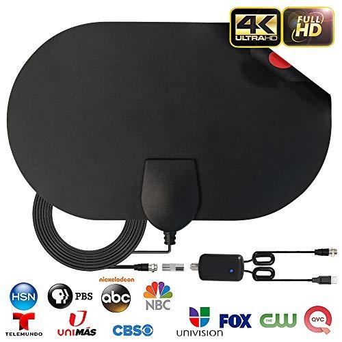 Antenne TV Intérieur, Max 120 Miles/200 km Puissante HDTV Antenne, DVB TNT Radius Antenne TV Signaux avec 0.5 mm Conception de Papier,VHF/UHF/FM, Soutenir Smart TV HD 4K 1080P