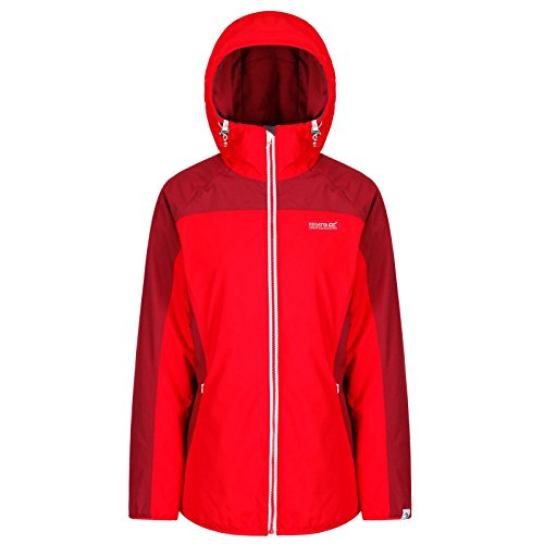 Regatta whitlow stretch waterproof and breathable wind resistant hooded, giacca donna, red alert/tibetan red, taglia 26