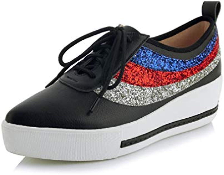 new style 70cef 5b8b5 YAN Donna Deck Scarpe in Pelle di Modo Appuntito Appuntito Appuntito Scarpe  Pigro Paillettes Piattaforma Scarpe
