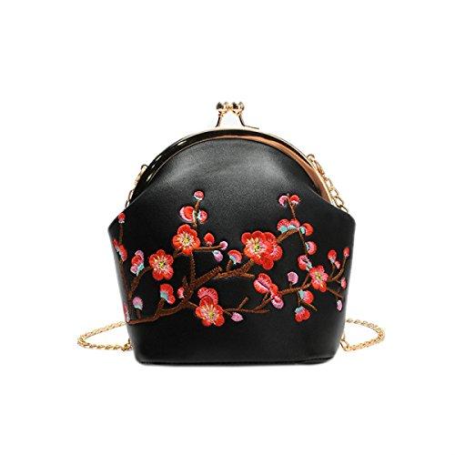 2017 Frau Neue Retro-Stickerei Pflaume Blüte Handtasche Abendessen Tasche Shell Tasche Mode Schulter Diagonale Paket Black