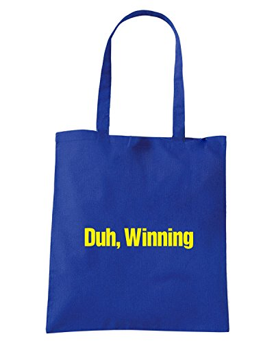 T-Shirtshock - Borsa Shopping FUN0978 charlie sheen duh winning t shirt Blu Royal