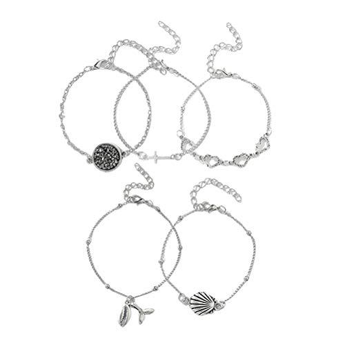 TENDYCOCO 5 Stück Armband Kombinationsset Fischschwanz Sweet Heart Shell Stulpearmband (Silber) -