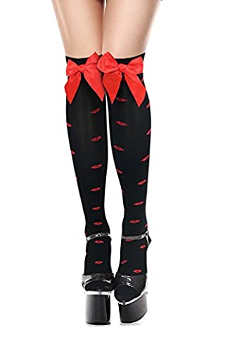 Charmian Women's Christmas Valentines Kiss Pattern Thigh High Stockings With Bows Black one-size