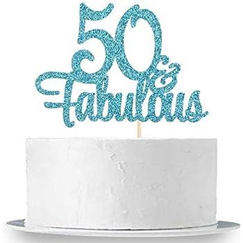 Admirable Innoru Blue Glitter 50 Fabulous Cake Topper 50Th Birthday Birthday Cards Printable Opercafe Filternl