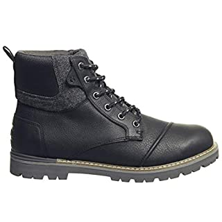 TOMS Ashland Boot Waterproof Black Leather Brushed Wool 43