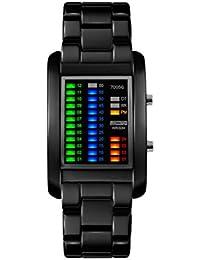 Colorful Matriz binario creativo de los hombres deportes reloj de pulsera para hombres de negocios,