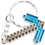 Minecraft Metal Pickaxe Blue Keychain Keyring