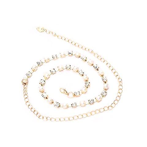 Ladies Waist Chain Belt - Gold Colour with Diamante and