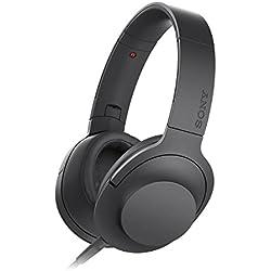 [Cable] Sony MDR-100AAP h.ear on - Auriculares con sonido de alta resolución Hi-Res Audio y manos libres con control remoto, negro