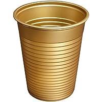 Vaso Oro, 100 unidades de 180 ml Vasos de plástico