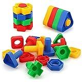 Screw building blocks plastic insert blocks nut shape toys for children Educational - Winnie Toys - small size