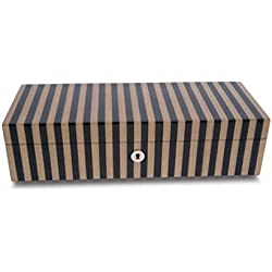 Rapport High Gloss Wooden watch collector box case Tan and Black Stripe - 5 Compartment